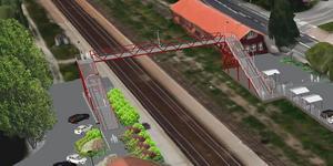 Den tillfällig bron i stål över spåren vid Södra station. Den ska vara på plats i maj.