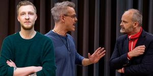 Vänster: VLT:s nöjesredaktör William Holm. Höger: Henrik Schyffert och Johan Rheborg i humorpjäsen