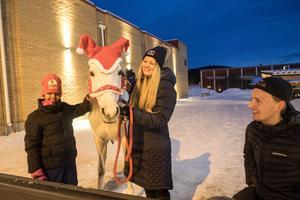 Frena Efrem Teclu fick klappa hästen Delila. Ägaren Sara Jonasson hade med sig henne och ordnade ridning på julskyltningen.