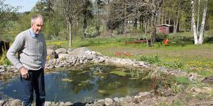 Nils Cederholm byggde sin första damm i trädgården för 30 år sedan.