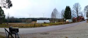 Fotomontage vid Galmsjömyran. Vy från Vattan-Lövåker-Stocksbo bygdegårdsförening. Foto från samrådshandingarna.