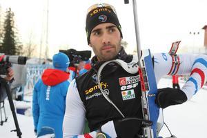 Martin Fourcade är Frankrikes slutman i den stafett som snart går i gång på skidskyttestadion i Östersund. Stafetten startar 15.30.