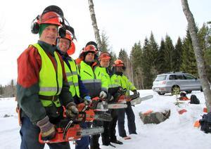 Alf Dahlin, Niclas Esteen, Hans Erks, Benny Robinsson och Anders Jonson deltog på skogsdagen.