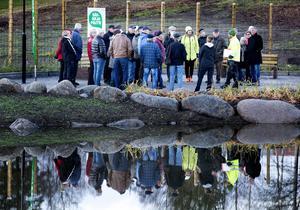 Dammen vid Västberga visades för allmänheten och Jonas Rasmusson från kommunen berättade hur den fungerar.
