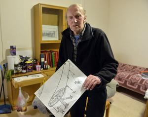 Alvar Elfberg drev under många år Wäsaberget och avslutade sin gärning med att göra en karikatyrteckning om hur anläggningen drevs med AMS-stöd.