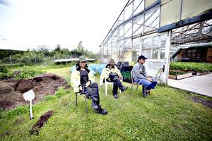 Eh Moo, Der Ler Ler och Dah Eh tar en paus från värmen i växthuset.