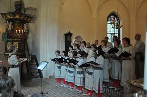 Kören från Vändra sjunger under ledning av Imbi Orav i Enåkers kyrka. Bild: Göran Lindal.