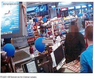 34-åringen fastnar på en övervakningskamera efter misshandeln. Foto från polisens förundersökning.