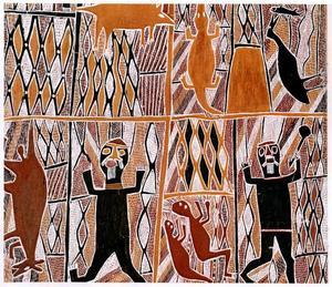 """Detalj av barkmålning utförd av Mungurrawuy Yunupingu, odaterad men från 1900-talet.Konstnären är från Arnhem Land i nordöstra Australien, och verket ingick i en stor utställning av aboriginkonst. Den öppnades i början av 2009 i Art Gallery of Western Australia i delstatshuvudstaden Perth. Målningen berättar om en bush fire, skogsbrand, och förutom en del djur ser man två män som räddat sig genom att hoppa ner i en flod. De två mindre figurerna nertill dansar vid en – icke samtidig – ceremoni, och romberna runtomkring, """"ruter-rutorna"""", är heliga tecken som syftar på eldslågor, rök, aska och kol."""