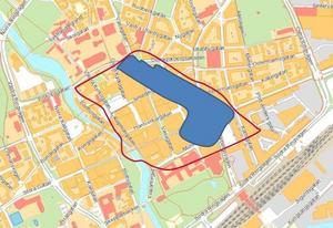 Bild över hur stor yta av centrum som Erikslunds parkering motsvarar.