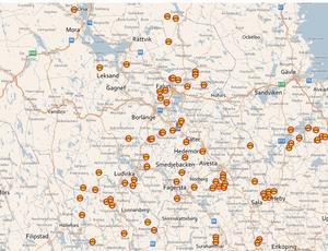Så här såg Trafikverkets karta över tjälskadade vägar ut under onsdagen.
