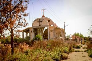 En av många kyrkor som förstörts av IS i Tel Nasri, Syrien.