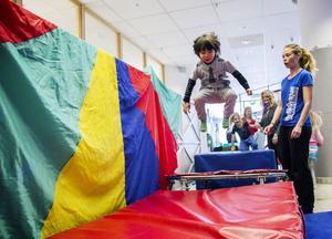 Rasmus Asterlund tyckte att trampolinen var rolig.