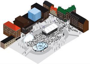 Arenan, som torget ska kallas under de här veckorna, får ett eget, magnifikt ljusspel, restaurang och skridskobana.Foto: Illustration