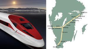 Planerad sträckningen för höghastighetståg i Sverige (tåget på bilden är från USA). Fotograf: Xpresswest/ap Photo. Skiss