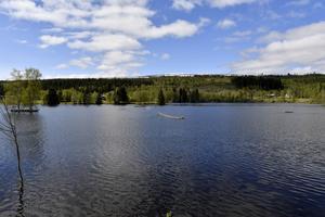 Kanotholmen i Sälen ligger under vatten och volleybollnätet fungerer som fisknät.