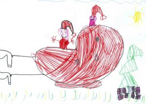 Ella 7år från Gävle, har målat tomtens släde, en julgran och massa julklappar. God Jul!