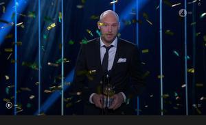 Det blev Andreas Granqvist som tog hem priset som Sveriges bästa fotbollsspelare 2017. Foto: Tv4.
