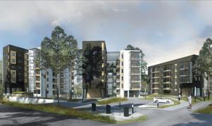 Omdiskuterad planförslag vid  norra Djäkneberget. Illustration: Sweco Architects