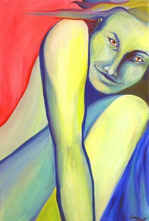 """""""Uppladdning"""". Samlar sig till stordåd? Färgstark målning av Caroline Brandt."""