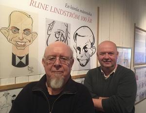 Samarbete mellan familjen Lindström och Leksands kulturhus. Pelle Lindström, Rune Lindströms sonoch utställningens producent Jovica Marceta.
