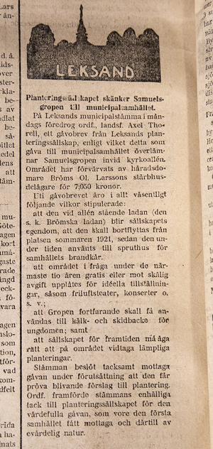 I Falu Kuriren 17 december 1919 går att läsa om den första gåvan till Leksands municipalsamhälle.