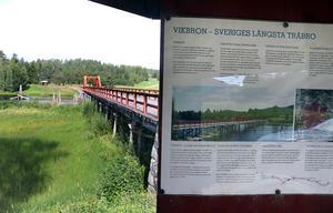 Vikbron är med sina 133 meter fortfarande en av Sveriges längsta träbroar.