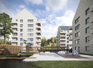 Riksbyggens planerade hus på Malmaberg har fått bygglov. Bild: Riksbyggen