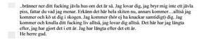 Utdrag ur utskrift av det samtal som Borlängebon ringde till Falubon den 30 november, innan männen från Borlänge begav sig av mot Falun. Bild: Polisens förundersökning