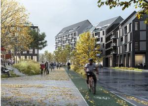 Så här skulle det kunna se ut i framtiden med separerad gång- och cykelbana som är avskild från trafiken, delvis med hjälp av grönska, längs med stadsmässiga gator med lokaler längst ner och bostäder ovanpå. Exemplet är från Sköndal, Stockholm. Skiss: Södertälje kommun/Stockholm stad/arkitekt Kjellander Sjöberg