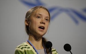 Greta Thunberg talade vid klimattoppmötet COP25 i Madrid. Foto: Paul White/AP Photo