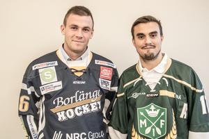 Borlänges nye forward Markus Persson tillsammans med Malungs Jonas Kapla på upptaktsträffen inför säsongen, som var tidigare i veckan.