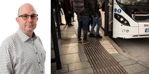 """""""Vi socialdemokrater har stridit för att våra unga ska kunna åka gratis med kollektivtrafiken i hela Dalarna men kollektivtrafiknämnden och Ulf Berg har nu tagit beslut om att minska bussåkandet"""" skriver  Mats Nilsson (S) Säter. Foto: privat/Lars Dafgård/montage"""