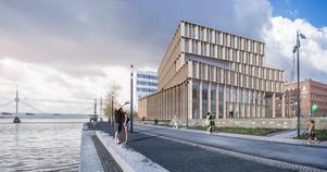 Så här är det tänkt att den nya domstolsbyggnaden i Jönköping kommer att se ut. (Pressbild)
