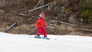 Hamilton Laakkonen, 4 år, tog sig galant ner för backen.