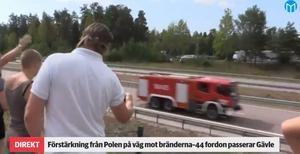 När kolonnen med 44 polska fordon körde igenom Sverige var det många som stod längs vägen och tackade för hjälpen.