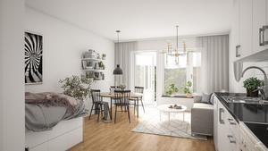 Interiör i en lägenhet i ett av Amastens så kallade Riki-hus.  Bild: Amasten