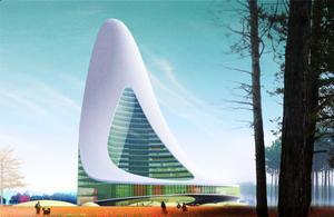 Så här ser den planerade miljardskrapan ut, enligt en illustration som Länsförsäkringar Gävleborg beställt.