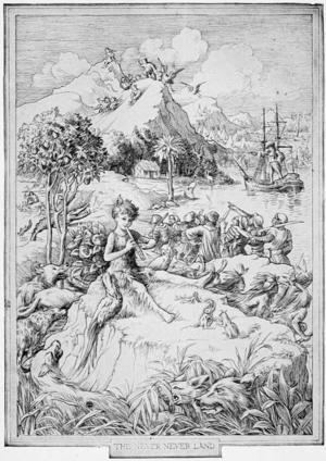 Francis Donkin Bedfords illustration på försättsbladet till den första utgåvan av J. M. Barries