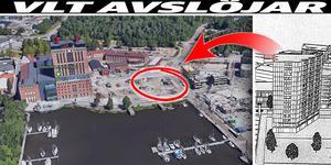 På den inringade platsen vill Peab bygga ett höghus intill Steam hotel. Bild: Google Earth. Illustration: Sweco. Montage Helena Grahn