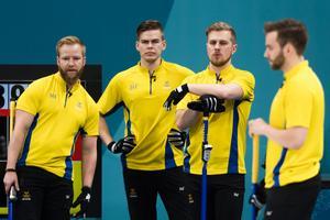 Lag Edin, med Niklas Edin, Rasmus Wranå, Christoffer Sundgren och Oskar Eriksson, har vunnit fyra raka EM-guld. Det har inget annat lag gjort tidigare. Foto: Petter Arvidsson.