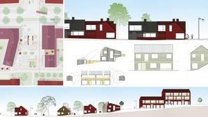 Källberga. Collage av skisser över bebyggelsen i den nya tätorten i Nynäshamns kommun. Illuststration: 3DO Arkitekter