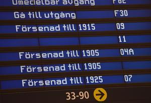 Informationstavlor på Arlanda. Foto Jonas Ekströmer / TT