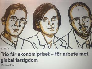 Dagens Ekos hemsida i måndags: Tre Nobelpristagare i ekonomi.