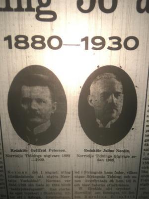 De första utgivarna på NT; Gottfrid Peterson och Julius Nordin.