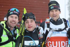 Emil Jönsson Haag, Zebastian Modin och Jerry Ahrlin efter målgången.