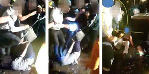 Bilder ur polisens förundersökning där gästen blir stampad på av en av de män som stampade honom i huvudet.