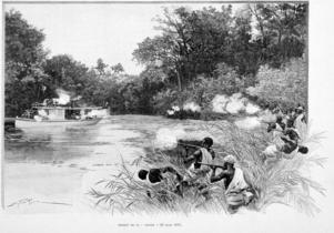 Dahomeyska styrkor i eldstrid med fransk bestyckad flodbåt 1892. Illustration ur  den franske upptäcktsresanden Alexandre d'Albécas