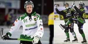 Adrian Emretsson (till vänster) gjorde 1–0 och 4–2 för Frillesås borta mot Nässjö. Bild: TT