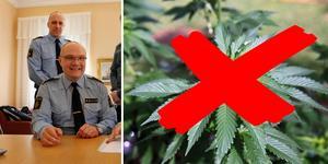 Kommunpolisen Måns Jennehag (till vänster) och kollegan John Köhler, polisintendent och kanslichef på polisområde Gävleborg, pratade under onsdagens möte om narkotikaproblemen i Gävle.